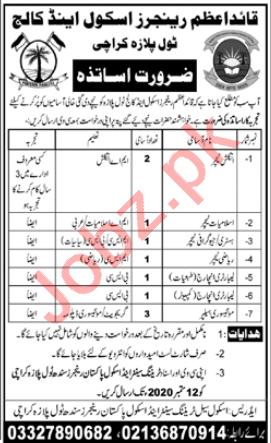 Quaid e Azam Rangers School & College Karachi Jobs 2020