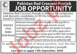 Pakistan Red Crescent Society PRCS Narowal Jobs 2020