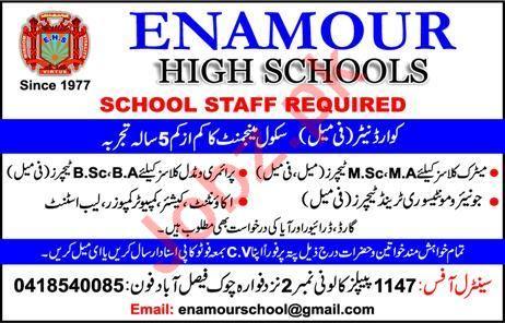 Enamour High School Faisalabad Jobs 2020 for Teachers