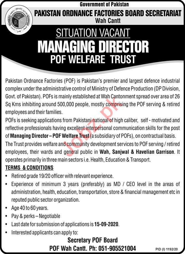POF Welfare Trust Wah Cantt Jobs 2020 Managing Director