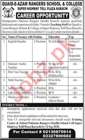 Quaid e Azam Rangers School & College Jobs for Teachers