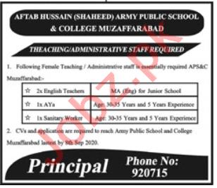 Aftab Hussain Shaheed APS&C College Muzaffarabad Jobs 2020
