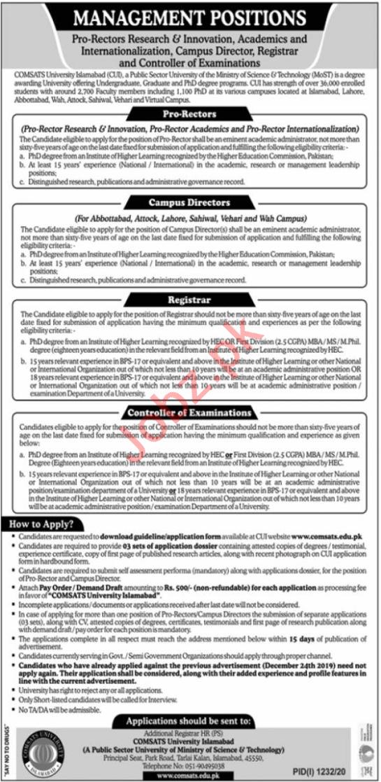 Comsats University Islamabad CUI Jobs 2020 for Pro Rectors