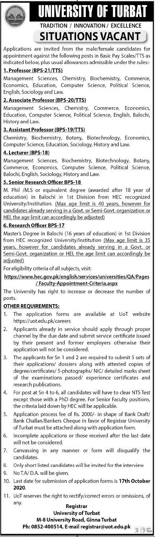 University of Turbat Faculty & Non Faculty Jobs 2020