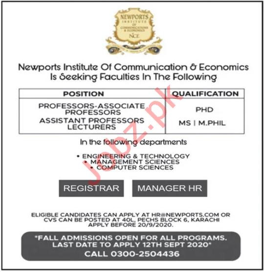 Newports Institute of Communication & Economics Faculty Jobs