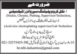 MBI Industries Pvt Limited Jobs 2020 For Technical Staff