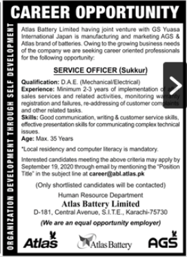 Atlas Battery Limited Job 2020 For Technical Staff in Sukkur