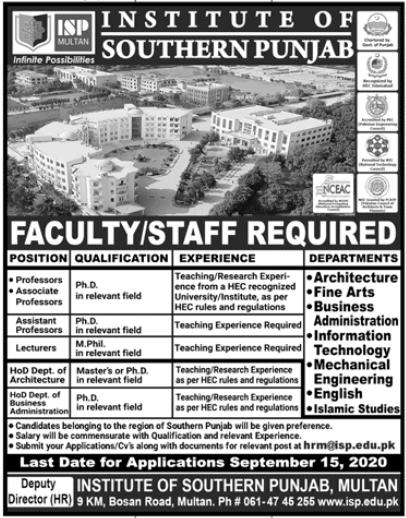Institute of Southern Punjab Jobs 2020 in Multan