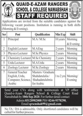 Quaid e Azam Rangers School & College Jobs in Nawabshah