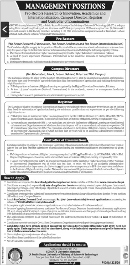 Comsats University Islamabad CUI Jobs 2020