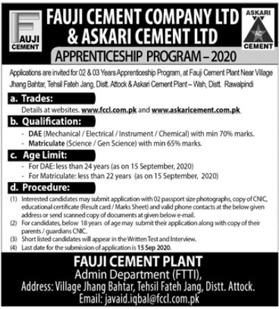 Fauji Cement Company Jobs 2020 in Attock