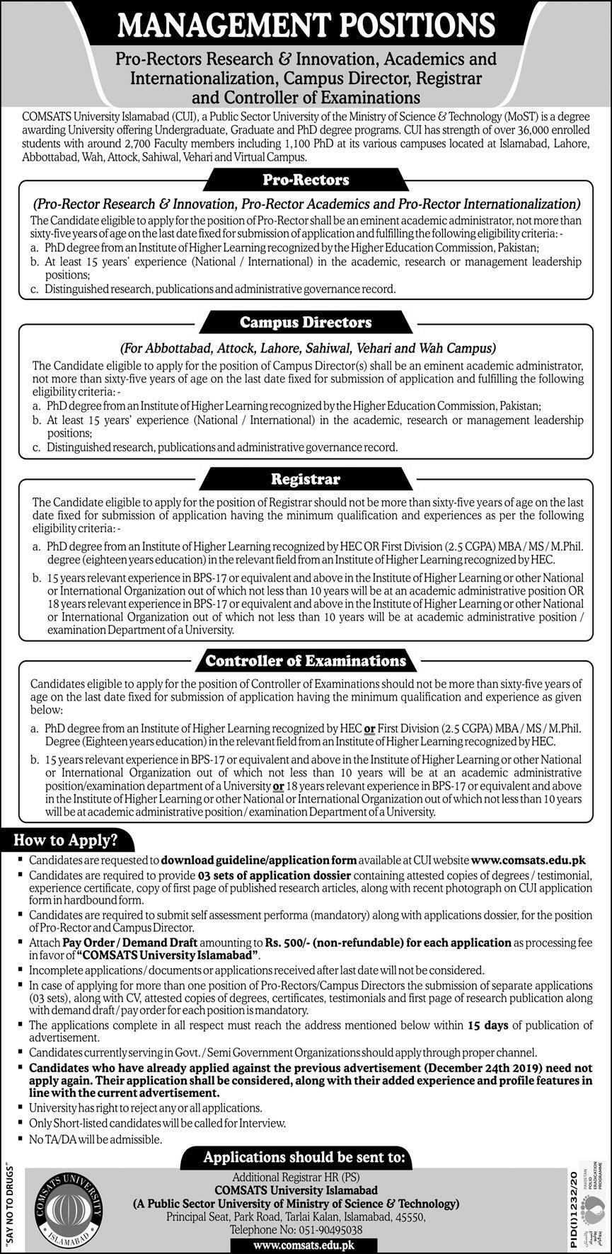 Comsats University Islamabad CUI Jobs For Management Staff