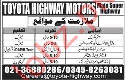 Mechanic & Technician Jobs 2020 in Toyota Highway Motors