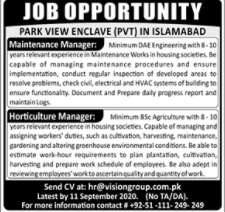 Park View Enclave Jobs 2020 For Islamabad