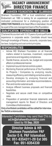 Shaheen Foundation Job 2020 For Director Finance
