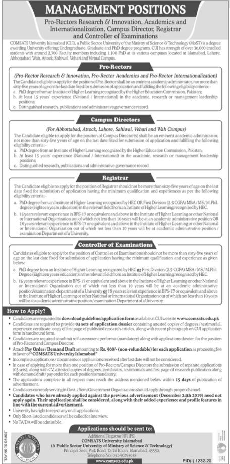 Comsats University Islamabad CUI Management Staff Jobs 2020