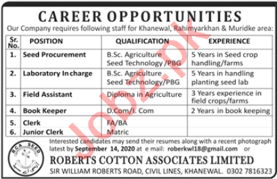 Roberts Cotton Associates RCAL Jobs 2020 for Lab Incharge