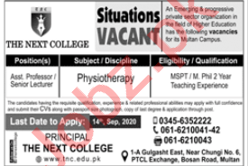 The Next College Multan Jobs 2020 for Assistant Professors