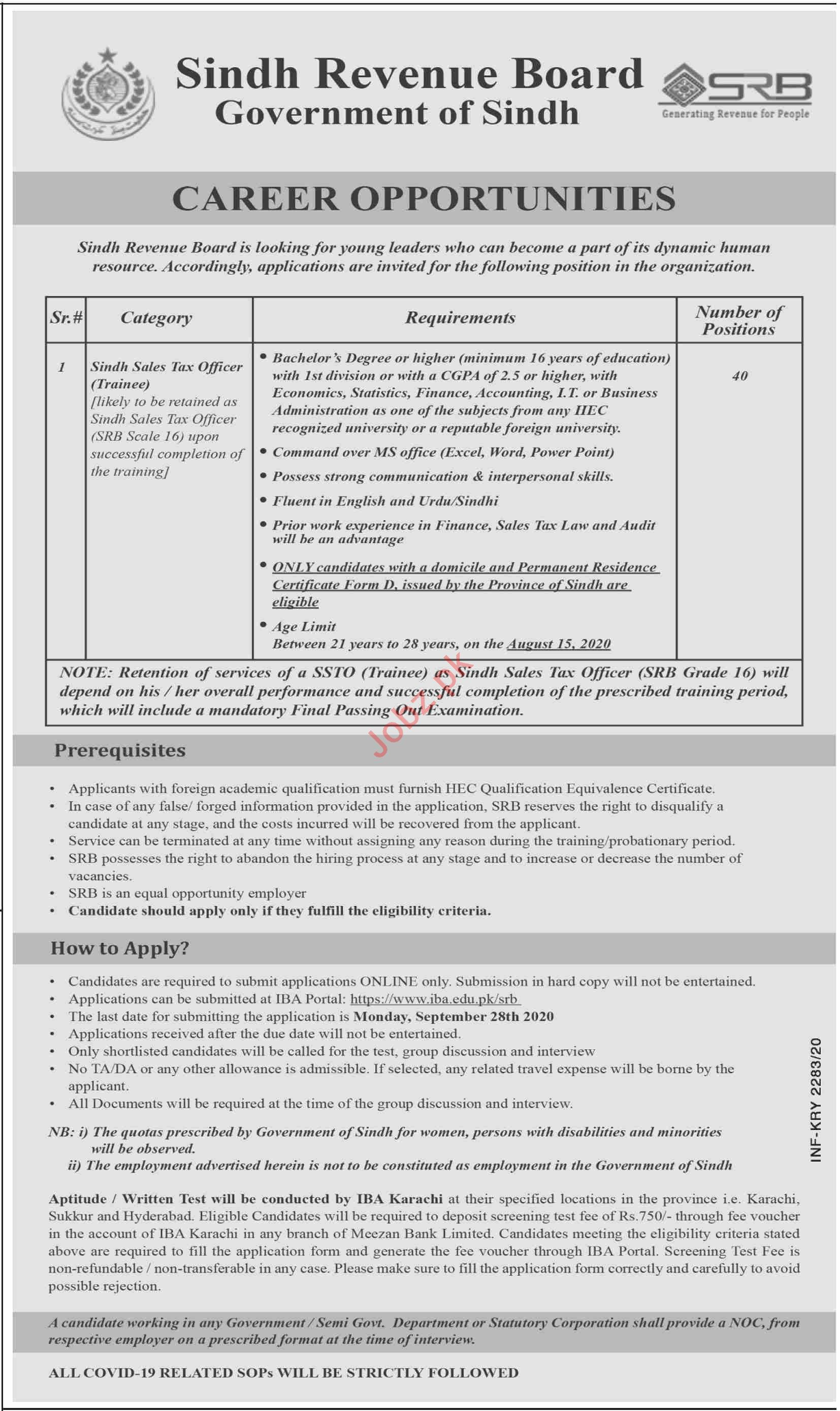 Sindh Revenue Board SRB Karachi Jobs 2020 for Tax Officer