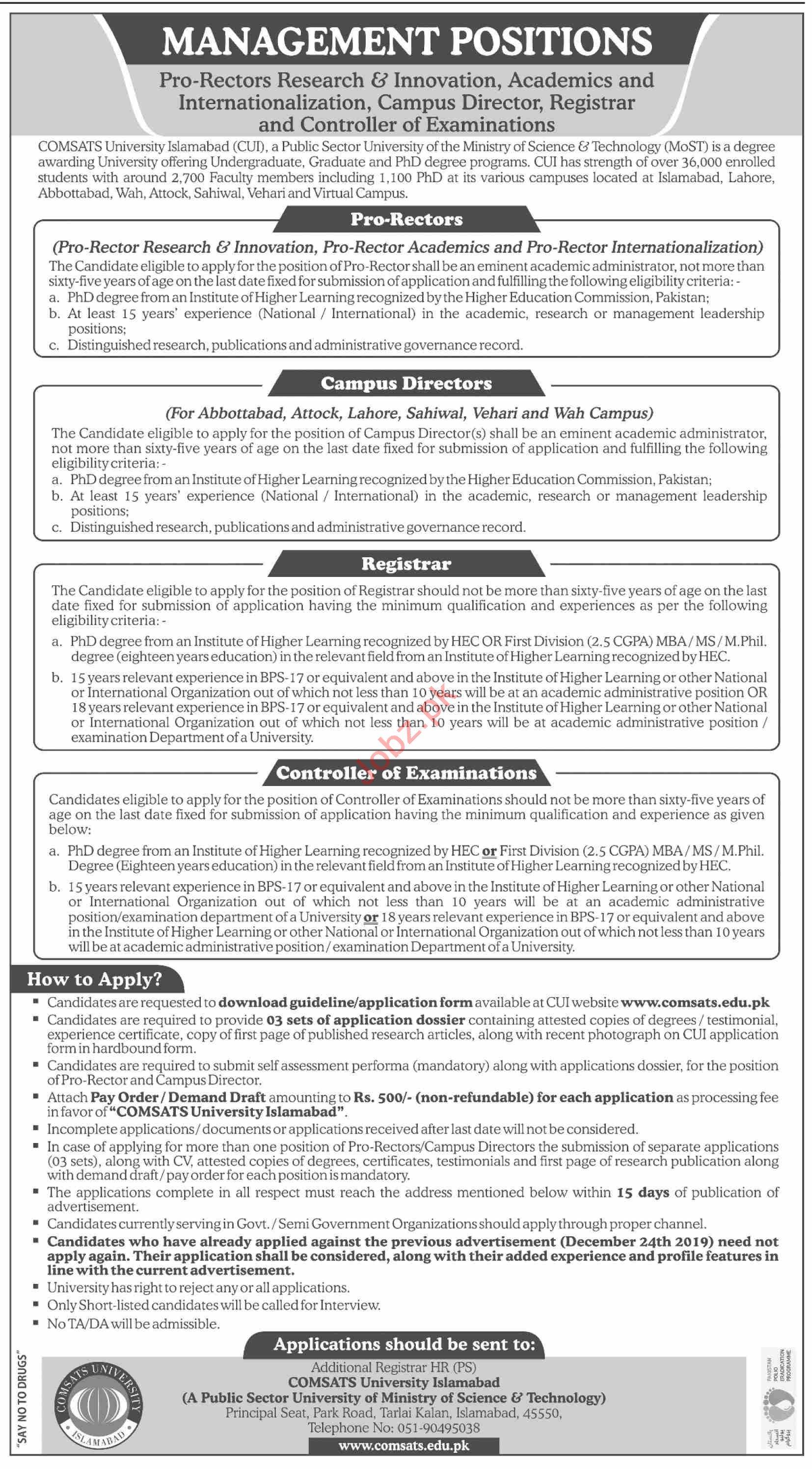 Registrar & Campus Director Jobs 2020 in Comsats University