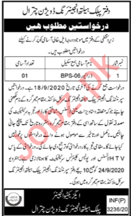 Public Health Engineering PHE Division Chitral Jobs 2020