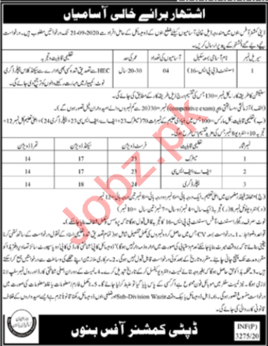 Assistant Jobs 2020 in Deputy Commissioner DC Bannu