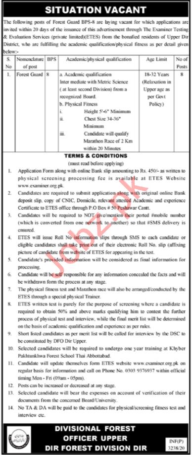 Forest Department Upper Dir Forest Division Jobs 2020