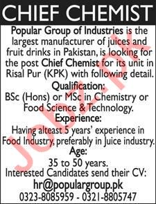 Chief Chemist Jobs 2020 in Popular Group of Industries