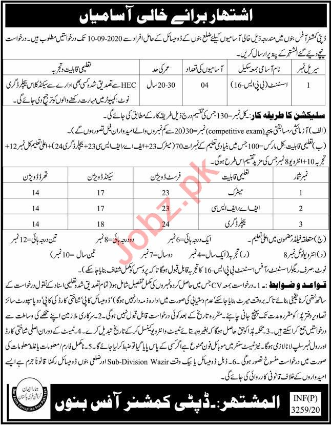 Office Assistant Jobs in Deputy Commissioner DC Bannu