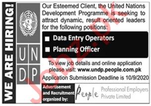 UNDP Jobs 2020 Data Entry Operator & Planning Officer