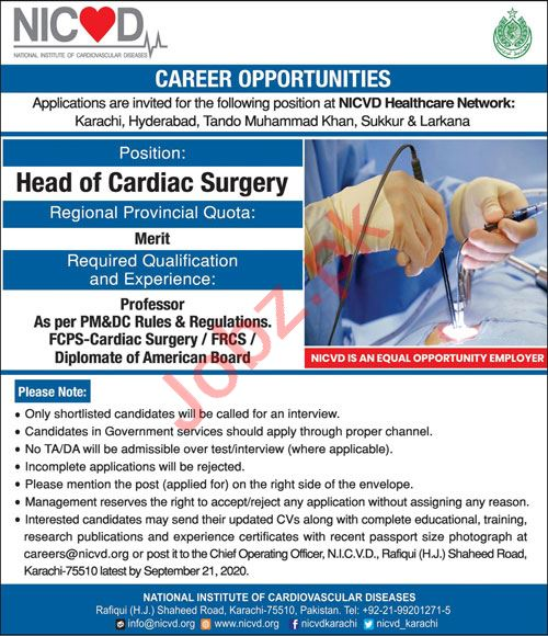 National Institute of Cardiovascular Diseases NICVD Jobs