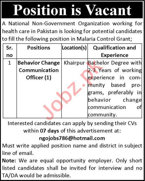 Behavior Change Communication Officer NGO Jobs 2020