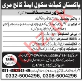 Pakistan Cadet School & College Murree Jobs 2020