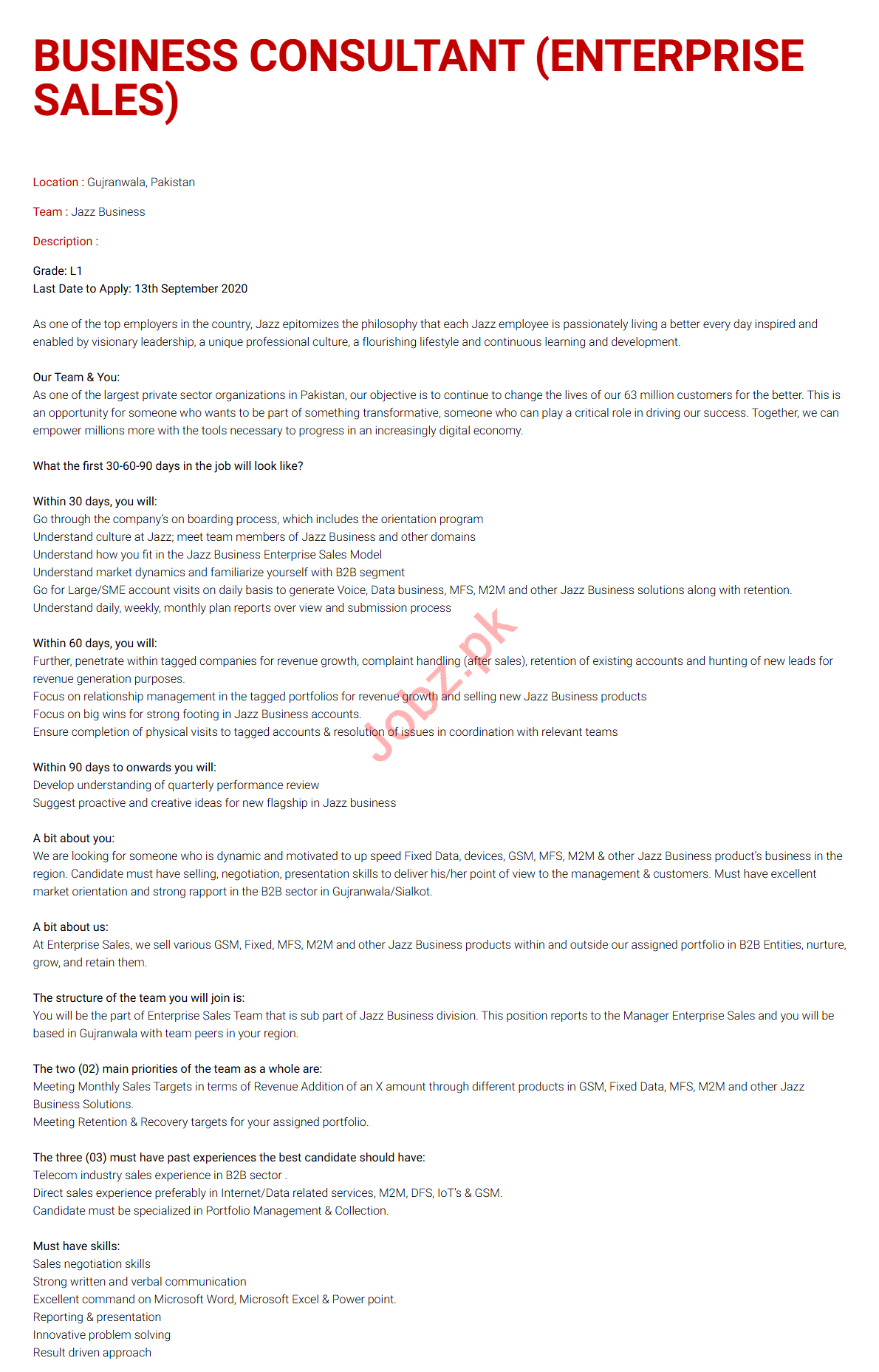 Business Consultant Jobs 2020 in Jazz Telecom Gujranwala