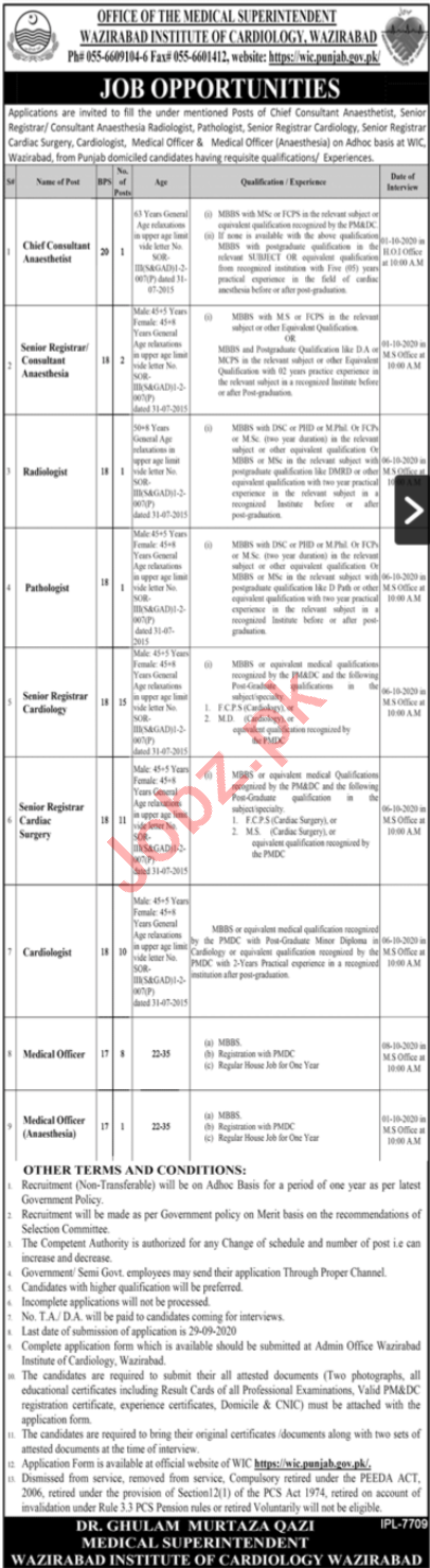 Wazirabad Institute of Cardiology WIC Jobs 2020