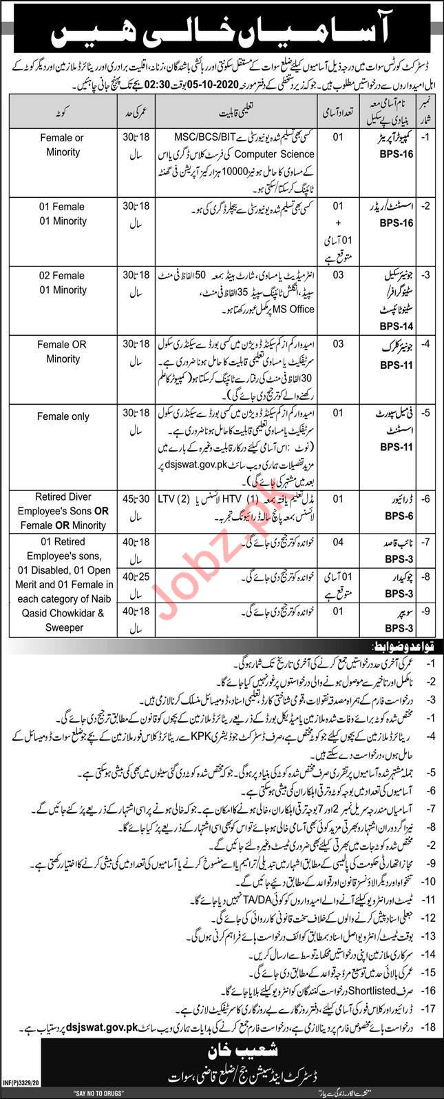 District & Session Courts Swat Jobs 2020 for Stenographer