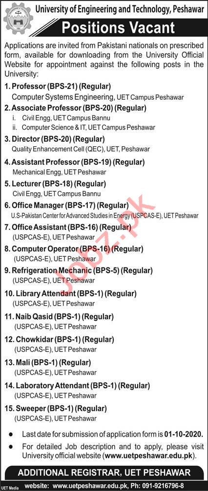 University of Engineering & Technology UET Peshawar Jobs