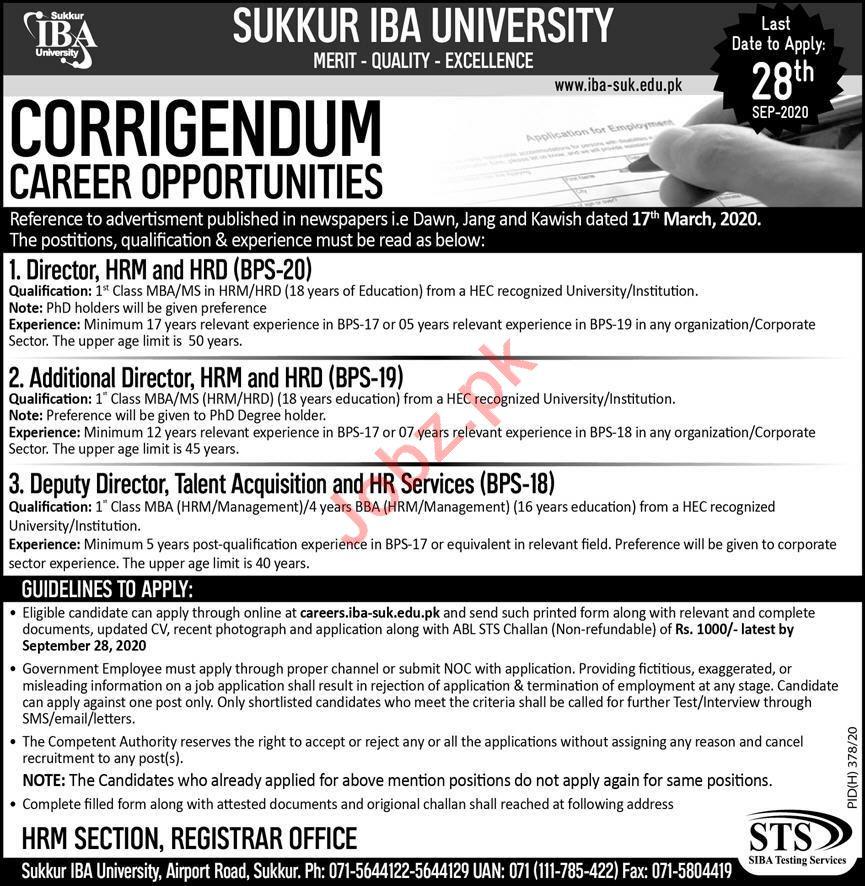 Director & Additional Director Jobs in Sukkur IBA University