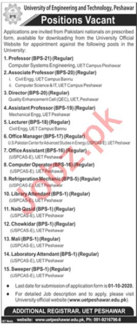 UET University Peshawar Jobs 2020 for Professor & Director