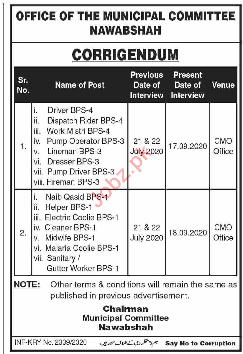 Municipal Committee MC Nawabshah Jobs 2020