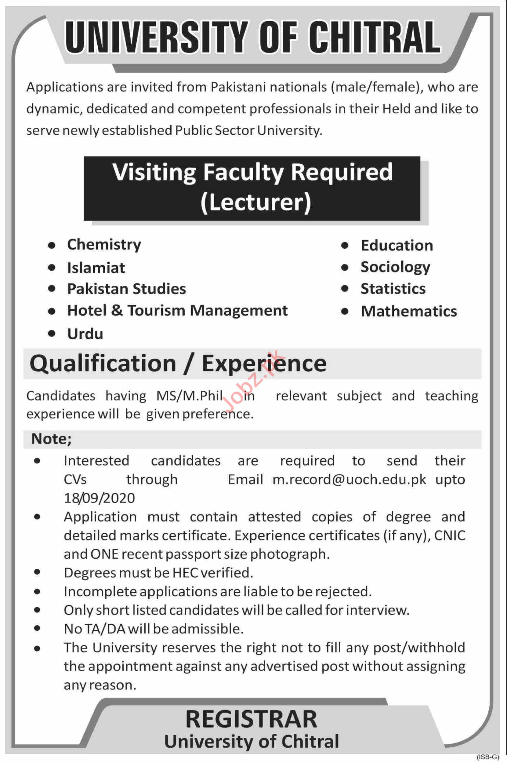 University of Chitral Jobs 2020 for Visiting Lecturers