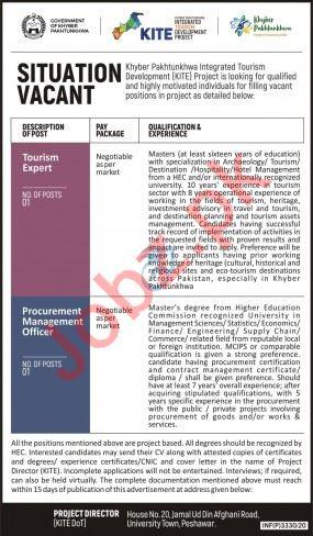 Khyber Pakhtunkhwa Integrated Tourism Project KITE Jobs 2020