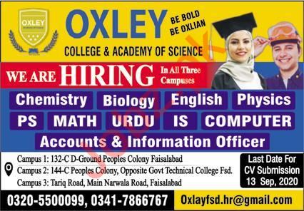 Oxley College & Academy of Science Faisalabad Jobs 2020