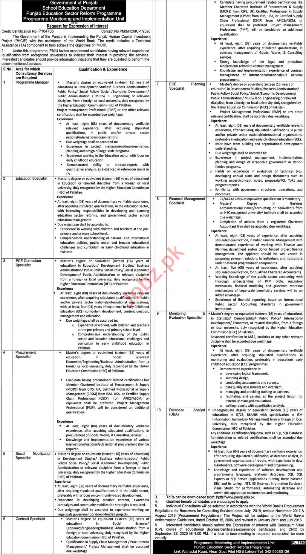 School Education Department Punjab Jobs 2020