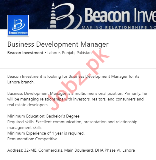 Beacon Investment Lahore Jobs Business Development Manager