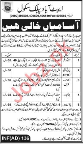 Abbottabad Public School Jobs 2020 for Stenographer & PTI