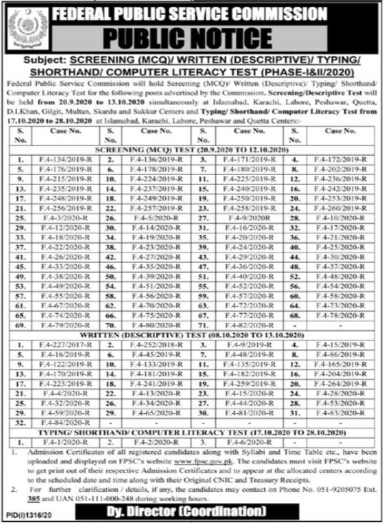 Federal Public Service Commission FPSC Test Notice