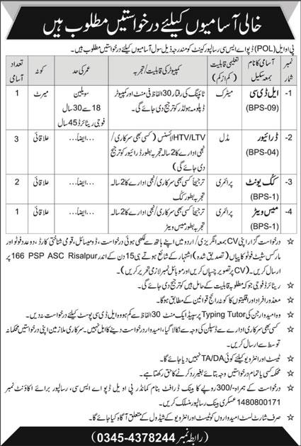Pakistan Army POL Depot ASC Jobs 2020 in Risalpur Cantt