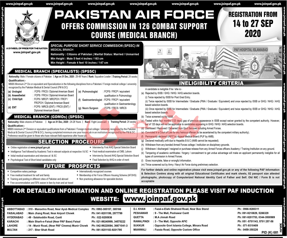 Pakistan Air Force PAF Jobs 2020 For Medical Specialists