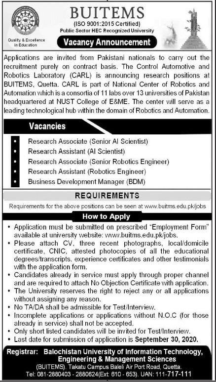 BUITEMS Quetta Jobs 2020 For Non Teaching Staff